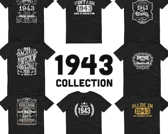 1943 Birthday Gift, Vintage Born in 1943 t-shirt for men, 78th Birthday, Made in 1943 T-shirt, 78 Year Old Birthday Shirt - 1943 Collection