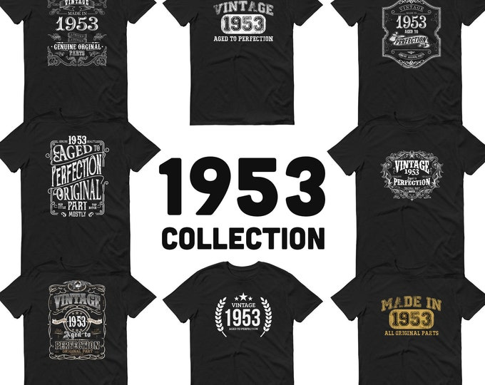 1953 Birthday Gift, Vintage Born in 1953 t-shirt for men, 66th Birthday, Made in 1953 T-shirt, 66 Year Old Birthday Shirt - 1953 Collection