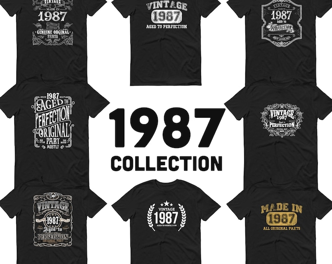 1987 Birthday Gift, Vintage Born in 1987 t-shirt, 33rd Birthday shirt, Made in 1987 T-shirt, 33 Year Old Birthday Shirt 1987 Collection