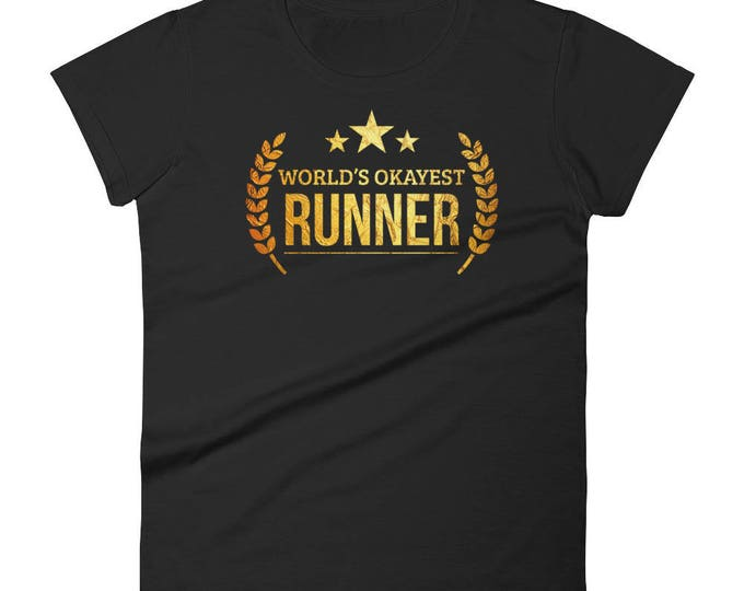 Marathon Runner Gift, Women's World's Okayest Runner t-shirt - gifts for a runner female, gift for half marathon runner