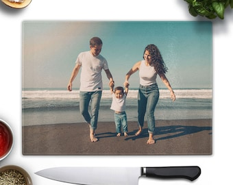 "Personalized Glass Cutting Boards, Custom photo chopping board, chef gift for kitchen, Monogram Cutting board recipe 8""x 11"" self gift"