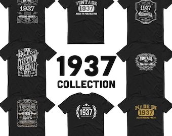 1937 Birthday Gift, Vintage Born in 1937 t-shirt for men, 84th Birthday, Made in 1937 T-shirt, 84 Year Old Birthday Shirt - 1937 Collection