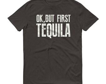 Men's Ok but first Tequila t-shirt, funny tequila shirt, tequila t shirt, tequila gifts, tequila costume, tequila es mi amigo | BelDisegno