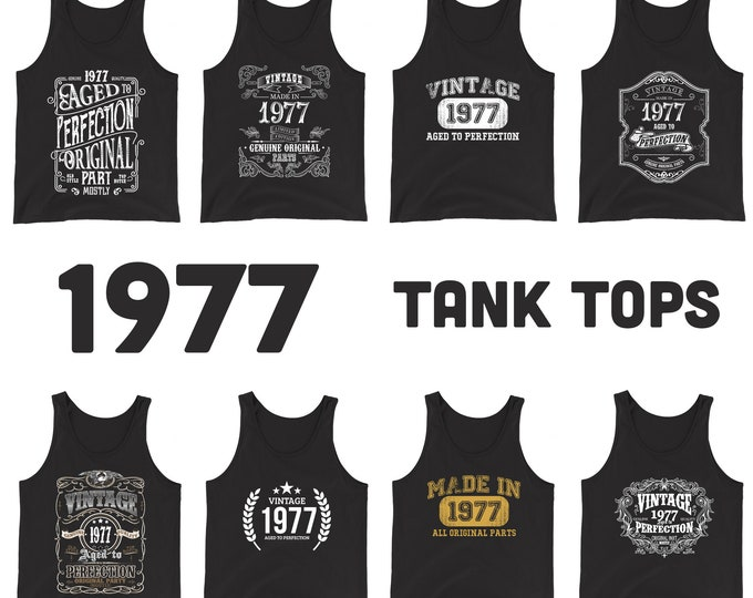 1977 Birthday Gift, Vintage Born in 1977 Tank tops for men women, 42nd Birthday Tanks for him her Made in 1977 Tank top 42 Year Old Birthday