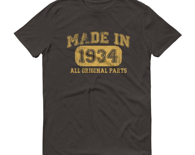 1934 Birthday Gift, Vintage Born in 1934 t-shirt for men, 84th Birthday shirt for him, Made in 1934  T-shirt, 84 Year Old Birthday Shirt