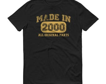 Men's 2000 Birthday Gift, Vintage Born in 2000, 18th Birthday shirt for him, Made in 2000 T-shirt, Birthday Shirt gift for 18 years old
