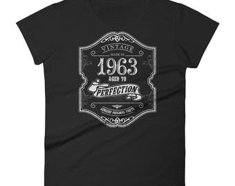 1963 Birthday Gift Vintage Born In T Shirt For Women 55th Her Made 55 Year Old