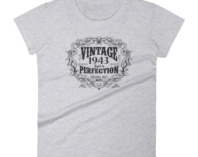 1943 Birthday Gift, Vintage Born in 1943 t-shirt for women, 76th Birthday shirt for her, Made in 1943 T-shirt, 76 Year Old Birthday Shirt