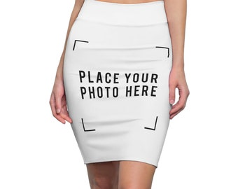 Personalized Pencil Skirt  Customize With your photo - Logo - Graphic custom text quote- Custom Skirt self gift