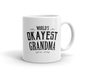 Grandma mug pregnancy announcement, World's Okayest Grandma Coffee Mug