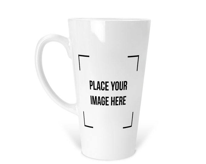Personalized Latte Mug  Customize With your Name photo picture image text quote and company Logo
