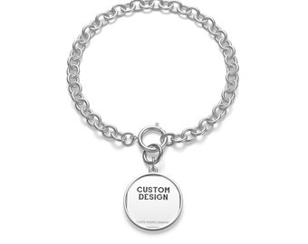 Personalized Chunky Chain Bracelet | Custom Bracelet for men women with pendant - Printed Photo picture saying quote name text | Silver Gold