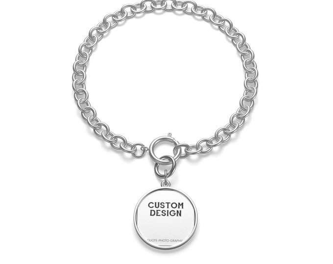 Personalized Chunky Chain Bracelet   Custom Bracelet for men women with pendant - Printed Photo picture saying quote name text   Silver Gold