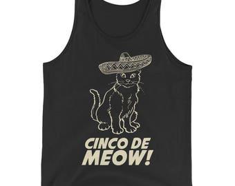Cinco de mayo Bachelorette Party, Unisex Cinco de Meow Tank Top, Gato shirt funny cinco de mayo gift