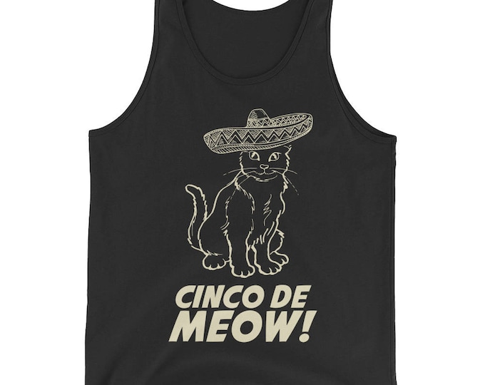 Cinco de mayo Bachelorette Party, Unisex Cinco de Meow Tank Top, Gato shirt funny cinco de mayo gift