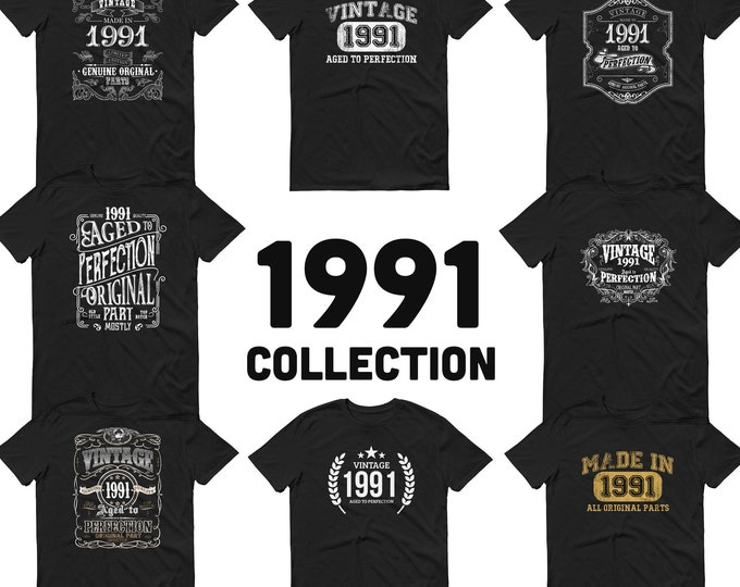 1991 Birthday Gift, Vintage Born in 1991, 29th Birthday shirt for him, Made in 1991 T-shirt, 29 Year Old Birthday Shirt 1991 Collection