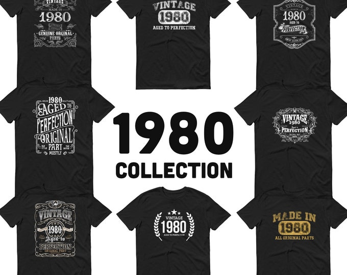 1980 Birthday Gift, Vintage Born in 1980 t-shirt, 41st Birthday shirt, Made in 1980 T-shirt, 41 Year Old Birthday Shirt 1980 Collection