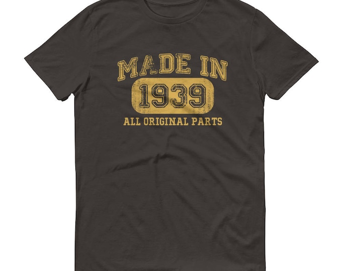 1939 Birthday Gift, Vintage Born in 1939 t-shirt for men, 80th Birthday shirt for him, Made in 1939 T-shirt, 80 Year Old Birthday Shirt