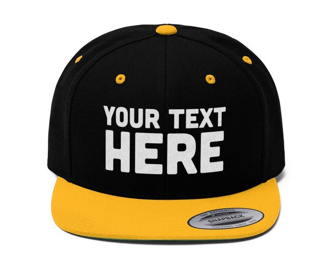 Custom Flat Bill Hat, Snapback Cap, Custom Embroidered Hat, Custom Snapback, Personalized Hat, Personalized Snapback Hat, Your Text Here