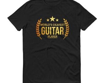 Guitar gifts for him, Men's World's Okayest Guitar Player t-shirt - guitar gifts for boyfriend or dad, guitarist men, guitar shirt