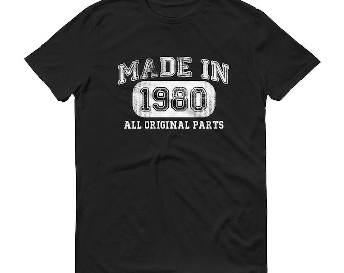 1980 Birthday Gift, Vintage Born in 1980 t-shirt for men, 39th Birthday shirt for him, Made in 1980 T-shirt, 39 Year Old Birthday Shirt