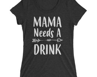 Funny Mom shirt - Mama Needs A Drink t-shirt - Mom gift for Christmas Birthday Mother's day | BelDisegno