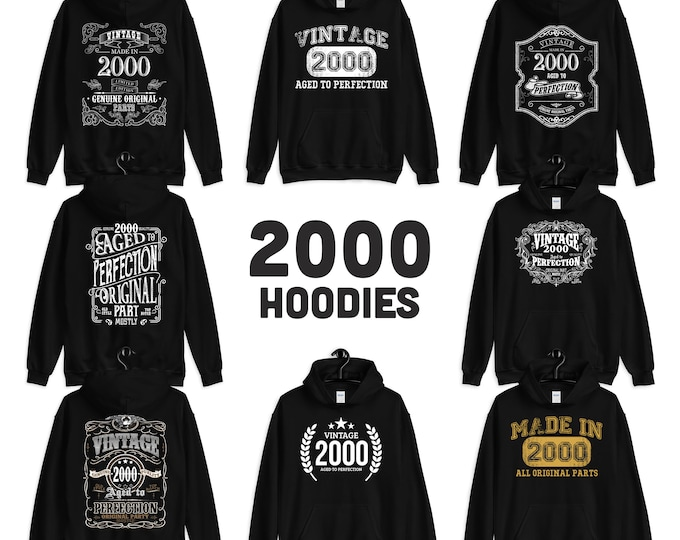 2000 Birthday Gift, Vintage Born in 2000, 20th Birthday Hooded Sweatshirt for her him, Made in 2000 hoodies for men women  20 years old