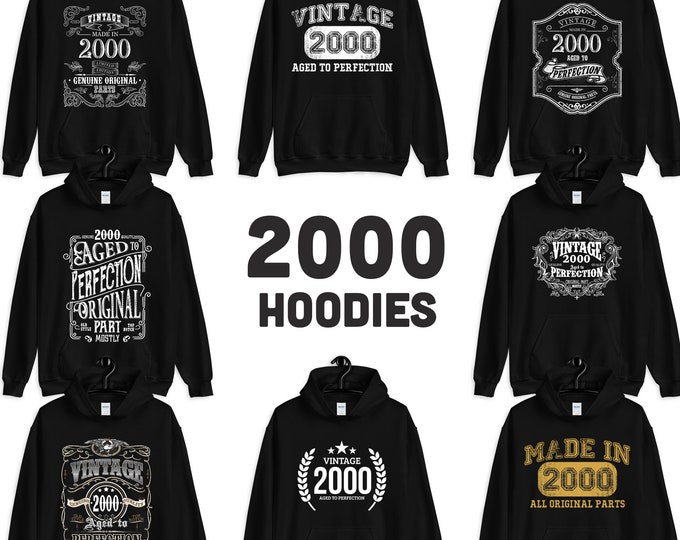 2000 Birthday Gift, Vintage Born in 2000, 19th Birthday Hooded Sweatshirt for her him, Made in 2000 hoodies for men women  19 years old