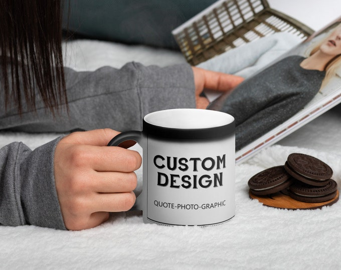 Custom Matte Black Magic Mug - Color Changing Mug