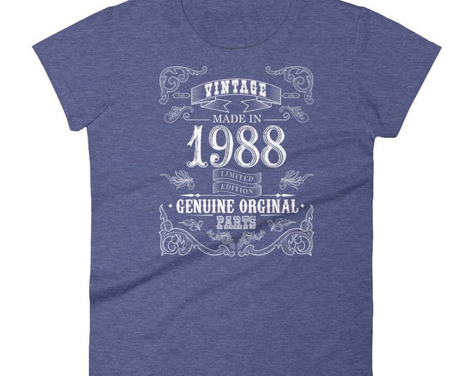 1988 Birthday Gift, Vintage Born in 1988 t-shirt for Women, 30th Birthday shirt for her, Made in 1988 T-shirt, 30 Year Old Birthday Shirt
