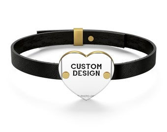 Customizable Bracelets for men women | Personalized Leather Bracelet for couples | Custom Bracelets with printed photo picture saying quote