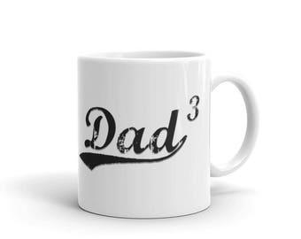 Dad 3, Dad3, Dad Of Three Mug, Dad Of Triplets, Father's Day Gift, Dad Cubed mug, Three Kids , Maths Geek Tee, Daddy Of 3, The Power of 3