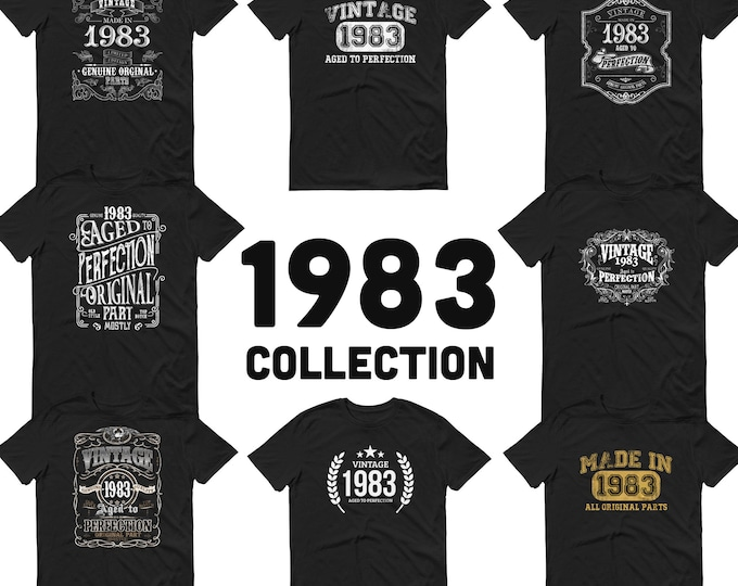 1983 Birthday Gift, Vintage Born in 1983 t-shirt, 37th Birthday shirt, Made in 1983 T-shirt, 37 Year Old Birthday Shirt 1983 Collection