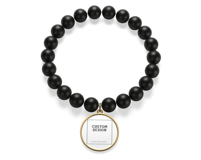 Personalized Matte Onyx Bracelet | 2 Base colors Silver and Golden | custom printed bracelet for women men boys girls - Long distance gift