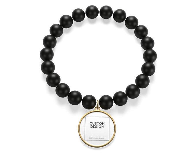 Personalized Matte Onyx Bracelet   2 Base colors Silver and Golden   custom printed bracelet for women men boys girls - Long distance gift