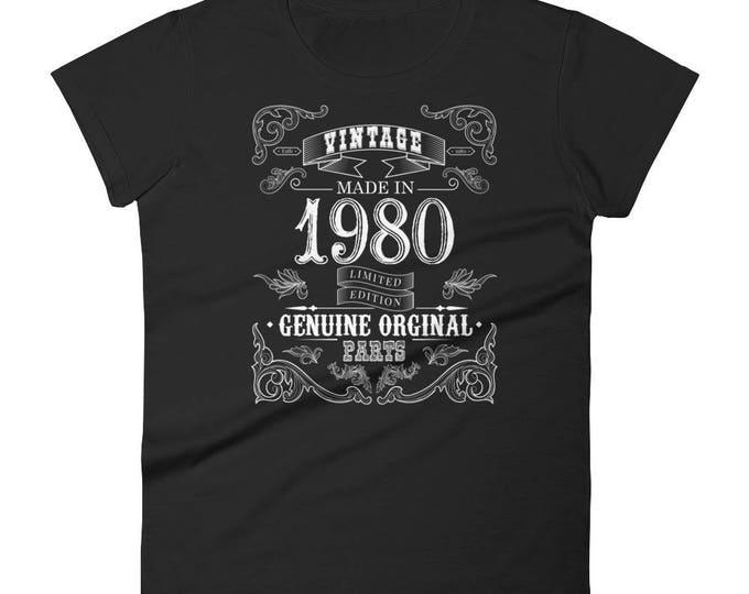1980 Birthday Gift, Vintage Born in 1980 t-shirt for women, 38th Birthday shirt for her, Made in 1980 T-shirt, 38 Year Old Birthday Shirt