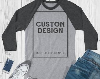 Custom 3/4 Sleeve T-shirt personalized Shirt Custom Raglans Customized Grey Shirts Custom Grey Raglans Women's Men's Unisex Adult BelDisegno