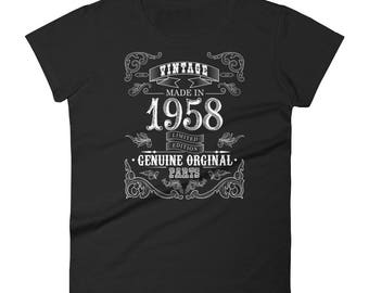 1958 Birthday Gift, Vintage Born in 1958 t-shirt for women, 60th Birthday shirt for her, Made in 1958 T-shirt, 60 Years Old Birthday Shirt
