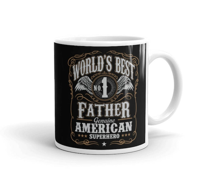 World's Best No 1 Father American Superhero Coffee Mug