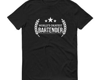 Bartender gifts,  World's Okayest Bartender t-shirt - funny gifts for bartender boyfriend mixologists, bartender t-shirt present