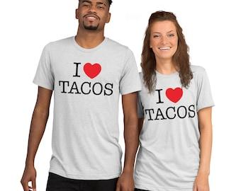 I love Tacos t-shirt for women, Heart Tacos Shirt, taco party, Taco Tuesday, funny tacos shirt for her, Love Tacos, Cinco De Mayo, Mexican