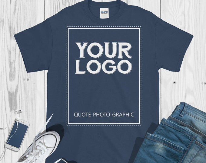 Personalized Short-Sleeve Ultra Cotton T-Shirt - 2XL 3XL 4XL 5XL  - Customize With your photo - Logo - Graphic custom text quote