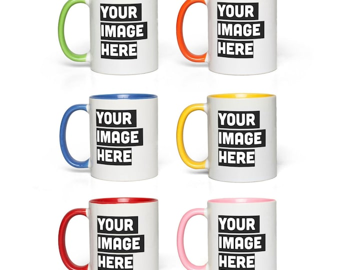 Custom Ceramic mug, Personalized Mug, Accent coffee mug, photo mug self gift