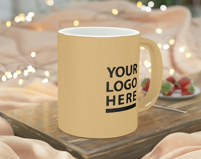 Customizable Metallic Mug Silver Gold Coffee Ceramic Mug - Personalized Mug - Custom Mug