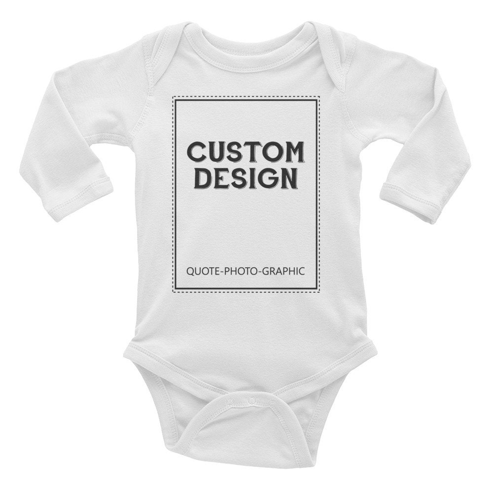 943527bba ... Long Sleeve Baby Rib Bodysuit - Customize With your photo Logo Graphic custom  text quote. 1