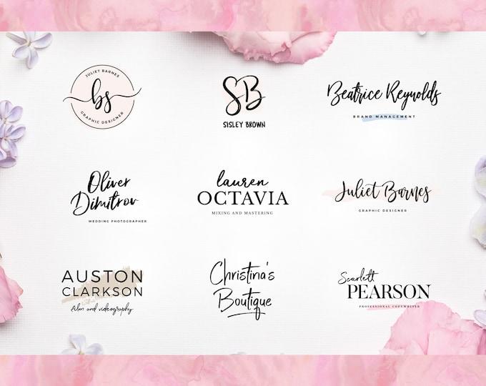 Boutique logo, Hand-Drawn logo design, floral logo, botanical custom logo design watercolor logo feminine shop girl logo photography logo