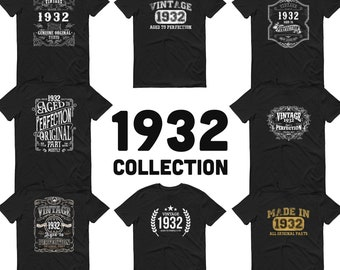 1932 Birthday Gift, Vintage Born in 1932 t-shirt Unisex 89th Birthday, Made in 1932  T-shirt, 89 Year Old Birthday Shirt, 1932 Collection