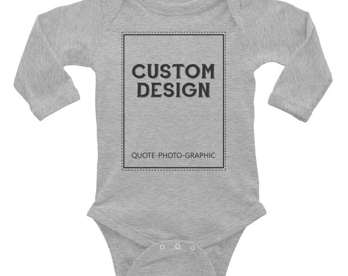 Custom logo Baby bodysuits Personalized Infant Long Sleeve Baby Rib Bodysuit - Customize With your photo Logo Graphic custom text quote