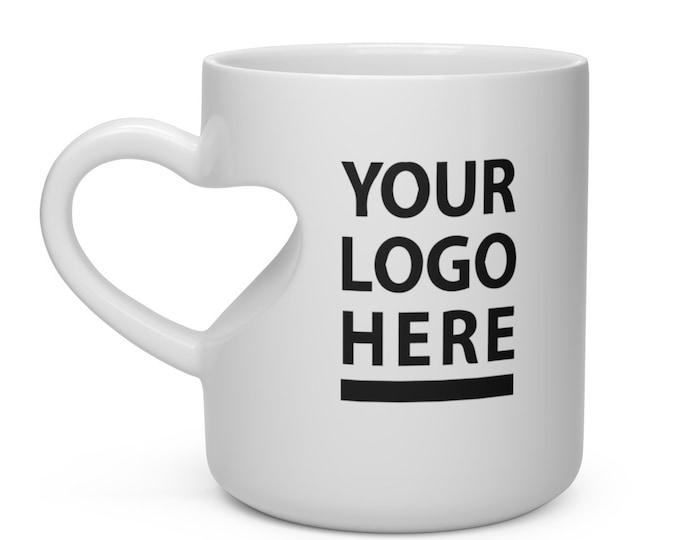 Custom Heart Shape Mug - heart mug, personalized mug, custom mug photo, custom mug picture, custom coffee mug custom mug logo mug for sister