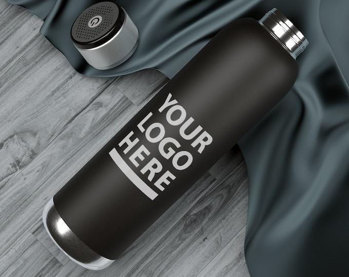 Custom Water Bottle 2-in-1 personalized steel bottle and bluetooth speaker. Soundwave Copper Vacuum Audio Bottle 22oz